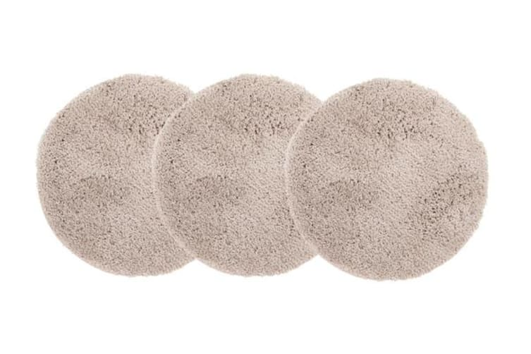 Pack of 3 Freckles Round Shag Rugs Cream 60x60cm