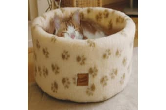 Danish Design Paw Prints Cosy Cat Bed (Cream)