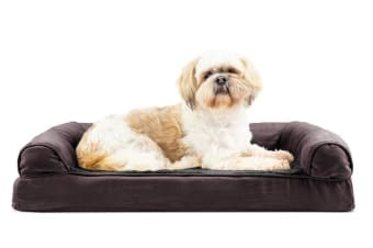 Orthopedic Foam Base Pet Bed Bolster Couch Large BROWN