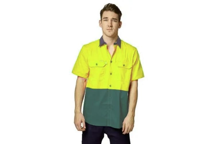 Hard Yakka Koolgear Ventilated Short Sleeve High-Vis Shirt (Yellow/Green, Size M)