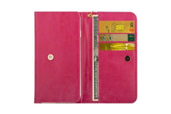 Universal Wallet Case  Horse Leather Texture Productive Cover Magenta