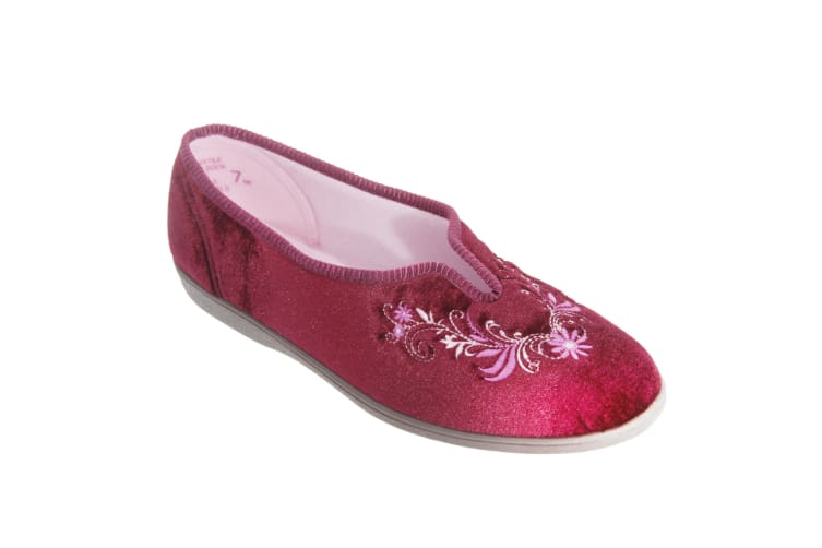 Sleepers Womens/Ladies Dolley V Throat Embroidered Slippers (Wine) (6 UK)