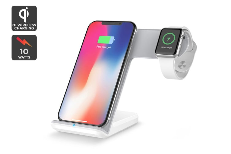 Kogan Dual Fast Wireless Qi Charger (White)