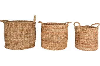 Yamba Seagrass Round Basket With Handles Set of 3