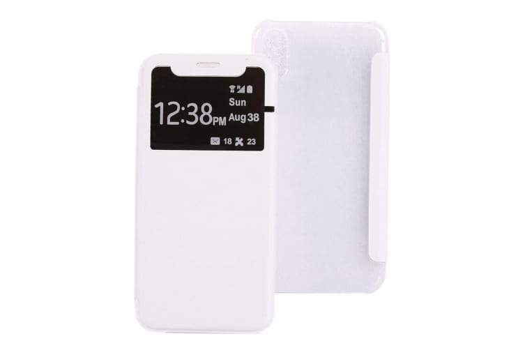 For iPhone XS X Case Elegant Caller ID Display Protective Leather Cover White