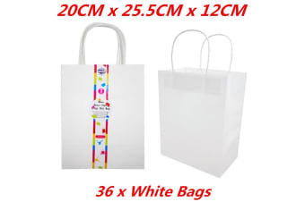36 x White Color Kraft Craft DIY Paper Carry Bags Shopping Gift Bag with Handle Bulk