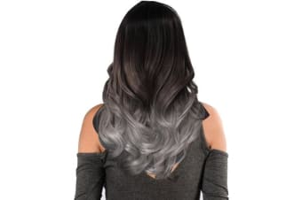 "Two Tone Ombre Gray Curly Hair 7Piece 16Clips 24"" Hair Extension 08"