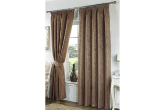 Seattle Ready Made Fully Lined Patterned Curtains (Mocha) (65 x 72 (166cm x 183cm))