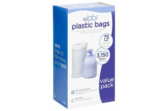 New UBBI BIN ECO Refill Plastic Liner 3 Pack Bags up to 3,150 Newborn Nappies 75 PACK DIAPER