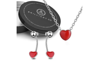 Boxed Romantick Red Heart Necklace and Earrings Set