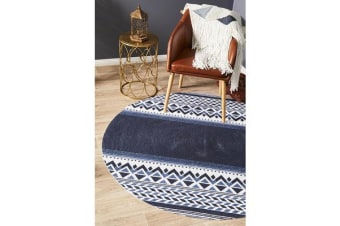 Navy Hand Braided Cotton Naval Flat Woven Rug - 120X120CM