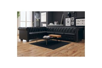 vidaXL Chesterfield Corner Sofa 6-Seater Artificial Leather Black