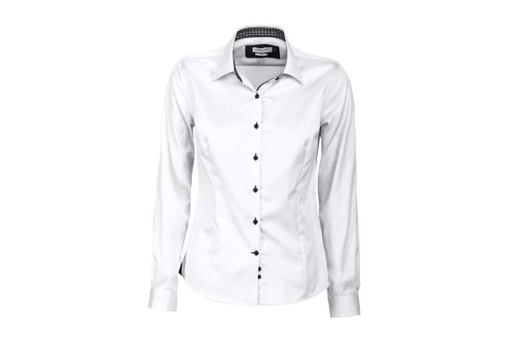 J Harvest & Frost Womens/Ladies Red Bow Collection 20 Long Sleeve Shirt (White/ Black) (2XL)