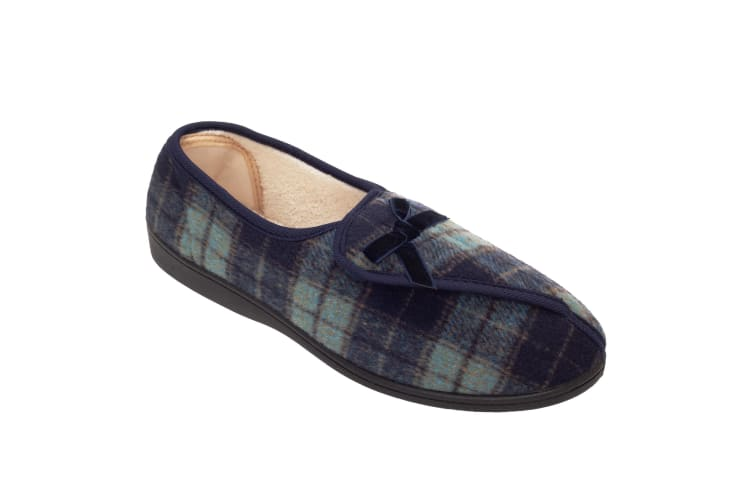 Slumberzzz Womens/Ladies Brushed Velour Checked Slippers (Checked Blue) (5 UK)