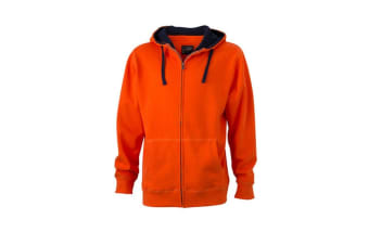 James and Nicholson Mens Lifestyle Zip-Hoodie (Dark Orange/Navy) (L)