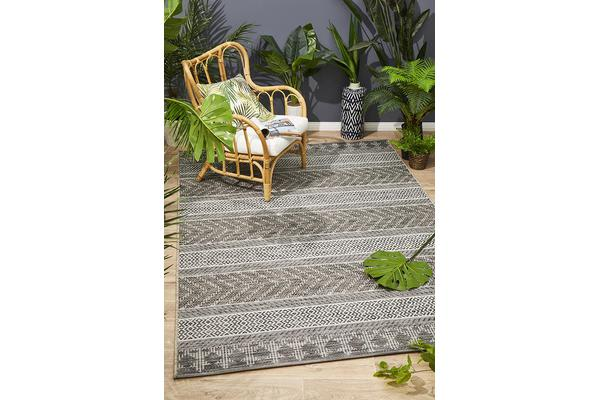 Wyatt Charcoal Grey Geometric Coastal Rug 290x200cm