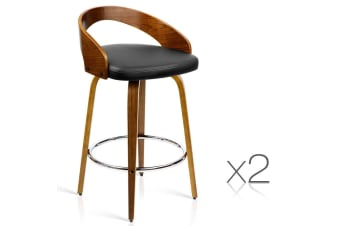 Set of 2 PU Leather Bar Stool with Chrome Footrest (Black)