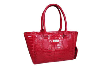 Sachi Wine Cask Tote Insulated Cooler Travel Bag Carrier Handbag Crocodile Red