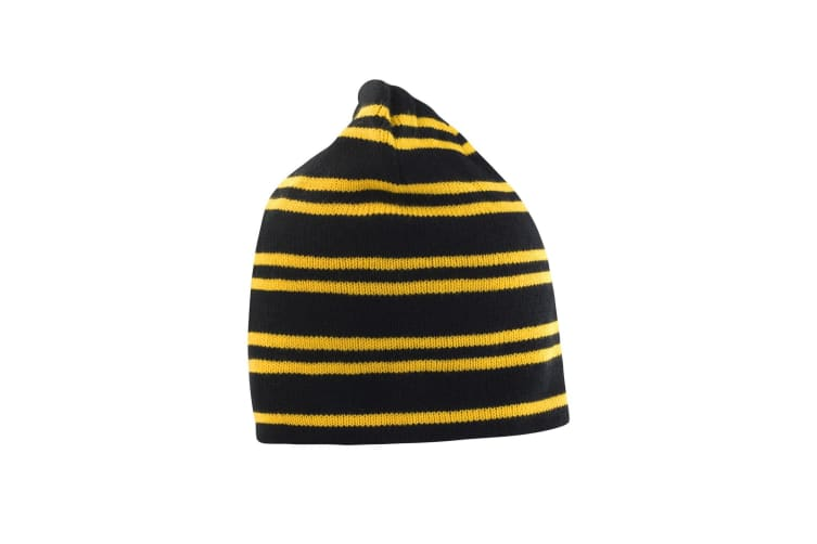 Result Unisex Winter Reversible Windproof Beanie Hat (Black/Gold/Black) (One Size)