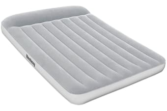 Bestway Queen Size Air Bed Inflatable Mattress Flocked Camping Built-in Pump