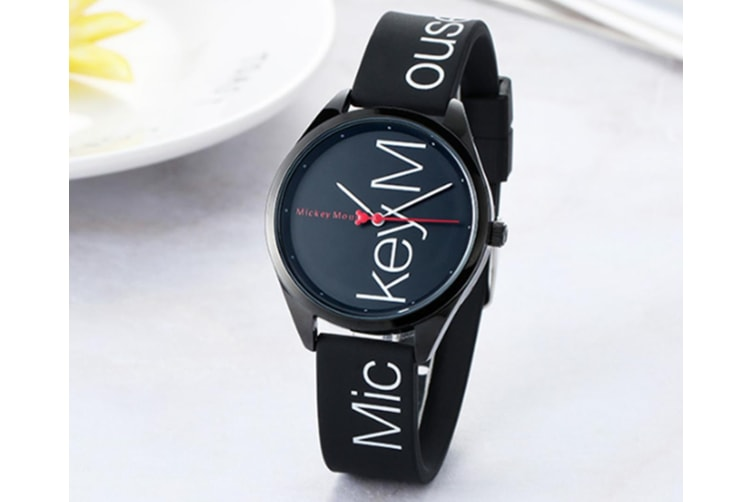 Select Mall Fashion Simple Waterproof Child Quartz Watch Fashion Trend Casual Watch Suitable for Boys and Girls-Black