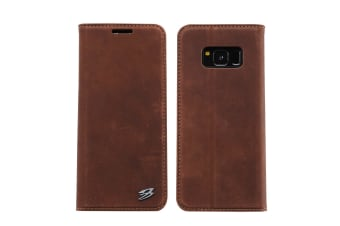 For Samsung Galaxy S8 Wallet Case Fierre Shann Genuine Cow Leather Cover Coffee