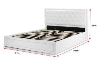 Shangri-La Winslow Gas Lift Bed Frame (Queen, White)