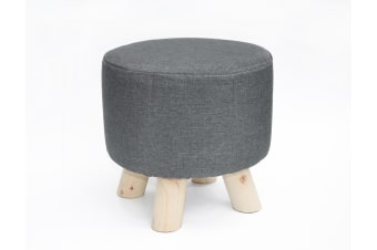 Fabric Ottoman Foot Stool Rest Pouffe Footstool Wood Storage Padded Seat
