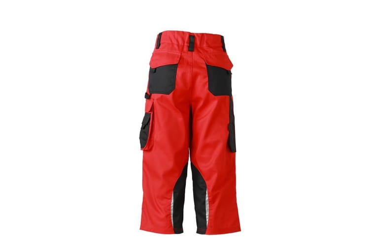 James and Nicholson Unisex Workwear 3/4 Pants (Red/Black) (38R)