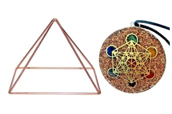 Copper Energizer Pyramid Energy Crystal 15cm Metatron Cube Sacred Geometry