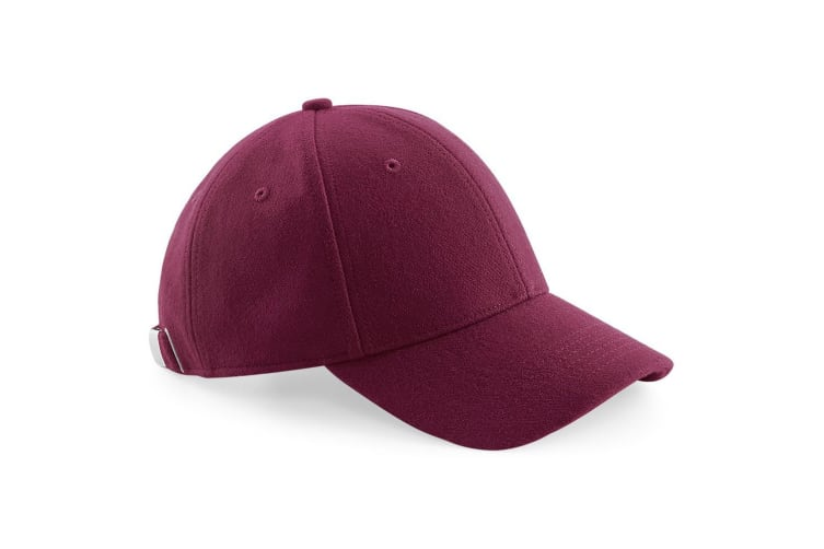 Beechfield Unisex Melton Wool 6 Panel Cap (Pack of 2) (Burgundy) (One size)