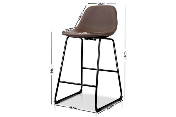 Artiss Set of 2 PU Leather Crosby Bar Stools (Brown)