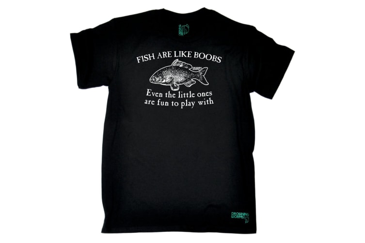 Drowning Worms Fishing Tee - Fish Are Like Boobs - (XX-Large Black Mens T Shirt)