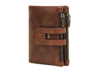 casual men's  double zipper anti-RFID  Billfolds Genuine leather wallet Coffee