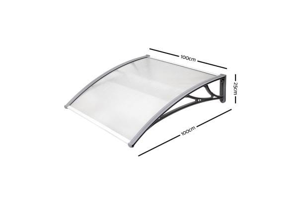 Instahut DIY Window Door Awning Transparent 1 x 1M (Grey)
