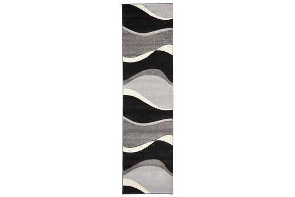 Subtle Waves Rug Grey Black 300x80cm