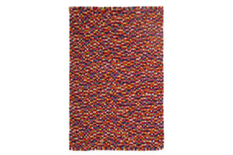 Felted Wool Unique Textured Ball Design Multi Rug 130x70cm