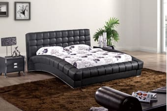 Elegance Leather Padded Bed Frame (Queen/Black)