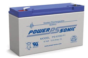 Power Sonic PS6100 6V 12Ah SLA Rechargeable Battery F1 Terminal Sealed Lead Acid