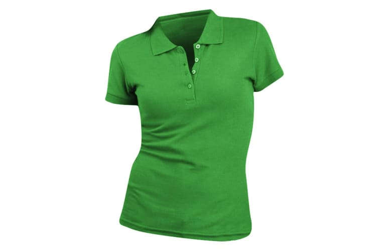 SOLS Womens/Ladies People Pique Short Sleeve Cotton Polo Shirt (Kelly Green) (L)
