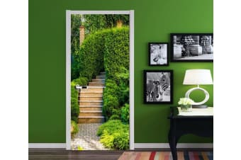 3D Stairs Green Plants 90 Door Mural Self-adhesive Vinyl