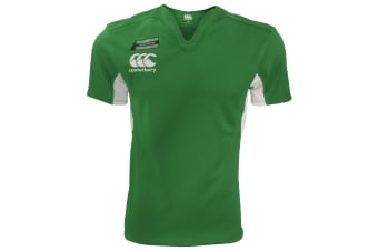 Canterbury Mens Challenge Short Sleeve Rugby Jersey Top (Forest/White)