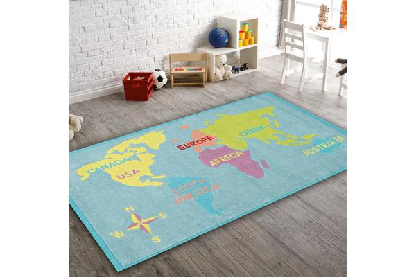 World Map Rug Blue 165x115cm