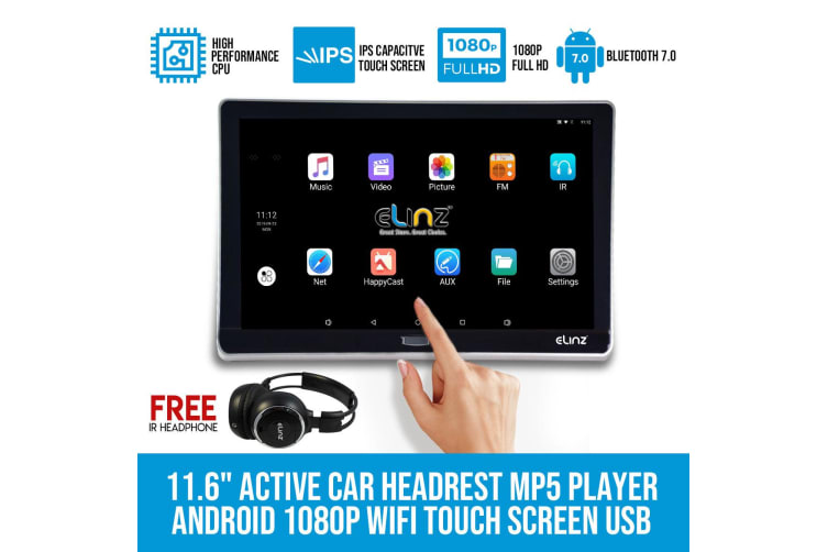 "Elinz Android 11.6"" Active Car Headrest Mp5 1080P WiFi Touch Screen USB No DVD Player"