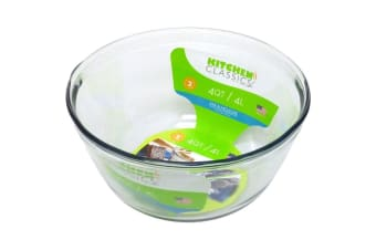 Kitchen Classics 4L Glass Mixing Bowl Measuring Tool