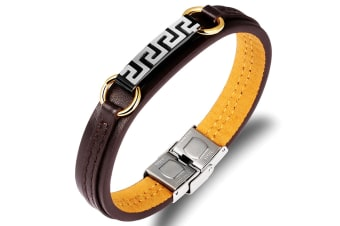 Genuine Cow Leather Clasp Bracelet-Leather/Brown