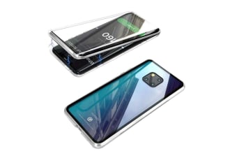 WJS 360 Degree Transparent Tempered Glass Cover Strong Magnetic Adsorption Technology Metal Bumper Compatible with Huawei-P30pro