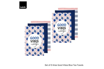 Set of 6 Arise Good Vibes Tea Towels Blue by Ladelle