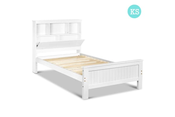 Wooden Bedframe with Storage Shelf (King/Single)