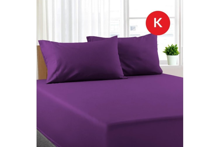 King Size Purple Color Poly Cotton Fitted Sheet + Pillowcase